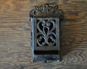 Antique Cast Iorn Fireplace Match Holder
