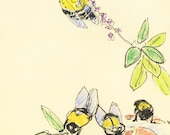 Ground Bees, Greeting Card, By Michelle Kogan, Colored pencil, Pen, Thank you, Birthday Card, Children, Blank card, Just Because cards
