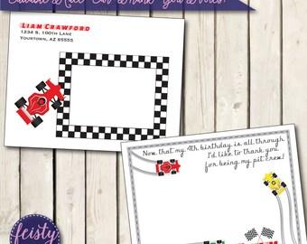 Editable Race Car Thank You Notes (Postcard Style)