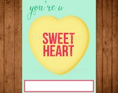 Printable Conversation Heart Valentine Cards. DIY Girlie Valentine's Day Cards. Sweet Heart Valentine Cards. Candy Heart.