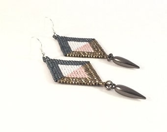 Denim Seed Bead Dangle Earrings