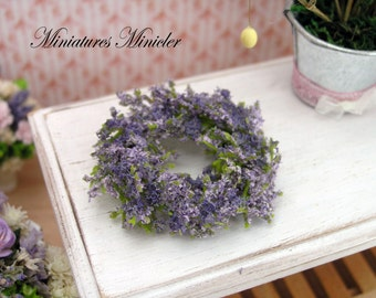Miniature Dollhouse Lavender Wreath