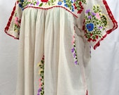 """Mexican Blouse XL: """"Lijera Libre"""" by Siren in Off White with Multi-Color Embroidery"""