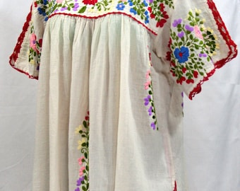"Mexican Blouse XL: ""Lijera Libre"" by Siren in Off White with Multi-Color Embroidery"
