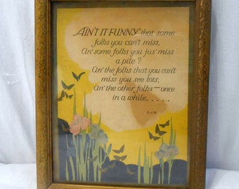 Antique Framed LIthograph Print Poem with Inspirational Quote 1930s 1940s Picture