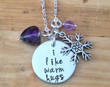 I Like Warm Hugs Frozen, Frozen Necklace, Olaf, Elsa Let it Go Necklace