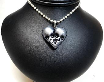 Skullheart / Silver Skull Heart / Till death do us part / skull jewelry / Sculpted Pendant / Polymer clay / gothic jewelry / horror