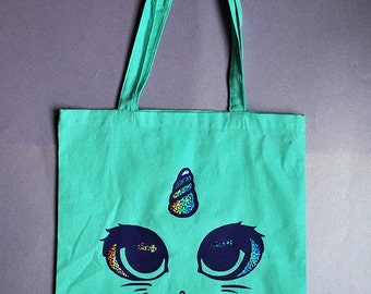 Large mint kawaii unicorn cat face fairy kei tote bag with holographic glitter