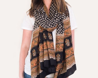 Oversized Black and Coral Floral, Scarf, Pareo, Sarong - Hand block printed, Natural Vegetable Dyes, Pareo, Stole, Shawl