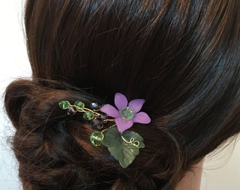 Flower Girl Hair Pin Purple, flower girl hair accessories, flower headpiece, flower girl headpiece, floral hair pins, flower girl head piece