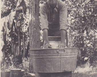 Antique Snapshot Photo of a Man Washing Clothes on Washboard