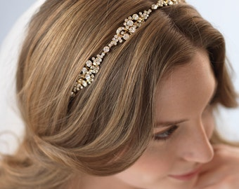 Gold Bridal Headband, Gold Wedding Headband, Gold Bridal Headpiece, Bridal Hair Accessory, Gold Headpiece,Vintage Bridal Headband ~TI-3167