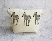 Zebra makeup bag  Cotton zip bag  Animal print  Lino print  Birthday  Toiletries