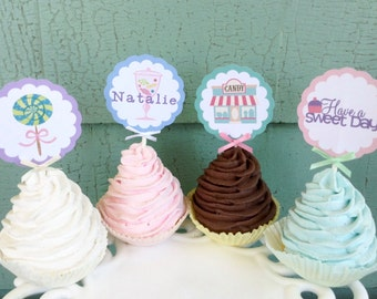 Candy Sweet Shoppe Cupcake toppers candy party theme