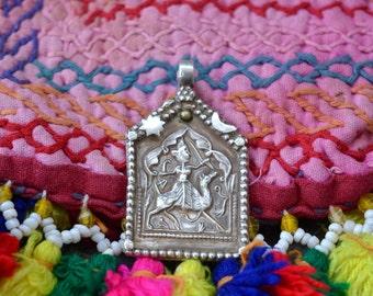 Tribal silver Pendant Indian amulet  hindu God Junjharji  antique vintage old Rajasthan spiritual charm for necklace