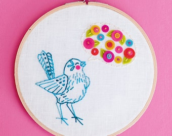 Embroidery Supply Kit and Pattern - Bluebird of Happiness - PDF Pattern, 6 inch Hoop, Hoop Art, Craft Kit