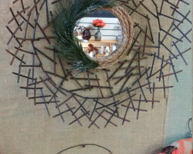 Featured listing image: Redecorating Idea. Metal Birds Nest Wall Mirror with Fuax Evergreen Sprigs. Farm House, Cottage,Patio, Bathroom, Bedroom. Free Shipping!!