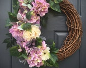Hydrangea Wreaths, Purple Spring Hydrangeas, Purple Green, Spring Door Wreaths, Purple Wreaths, Spring Decor, Easter Door Wreaths