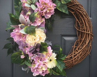 Hydrangea Wreaths, Purple Spring Hydrangeas, Purple Green, Spring Door Wreaths, Purple Wreaths, Spring Decor, Easter Door Wreaths