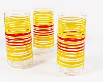 Vintage Striped Glass Tumblers - Set of 3