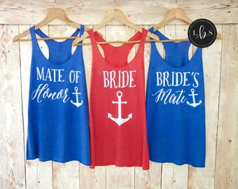 Bride's Mate Tank Top. Bridesmaid Tank Top. Bridesmaid Tanks Bridesmaid Shirts Nautical Tanks Mate of Honor Anchor Bachelorette Party Shirts