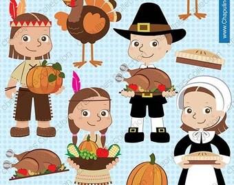 60% off Thanksgiving clipart, pilgrims clipart, native americans clipart, turkey clipart, thanksgiving table clipart, prayer  images set 70