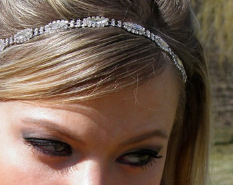 Rhinestone Headband, Grecian Headpiece, Wedding Hair Accessory, Crystal Headband