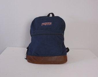 Vintage JANSPORT BACKPACK / 90s Navy BLUE Canvas & Leather Bottom School Bag Daypack