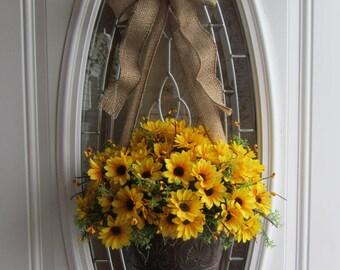 Sunflower Door Pocket - Summer Wreath - Sunflower Wreath - Burlap Sunflower Wreath - Burlap Sunflower Decor - Front Door Wreath - Wreaths