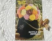 Crochet Flower Pattern Pillow Patch Kettle of Zinnas  by Annie's Attic, Vintage Crochet Leaflet (1982) - Sale Price