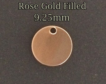 10pcs, Rose Gold Filled Stamping Blanks Round Disc Tag 9.25mm 26ga, Rose gold tiny Stamping Blank, disc stamping blanks rose gold fill