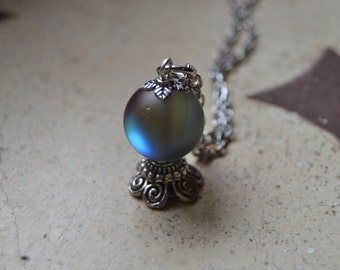 Dark scrying crystal ball necklace Iridescent necklace, gypsy fortune teller necklace, oracle witchcraft jewelry