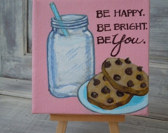 SPECIAL SALE Inspirational Original Painting. Personalized Gift.  Milk and Cookies. 4x4 Acrylic Painting.