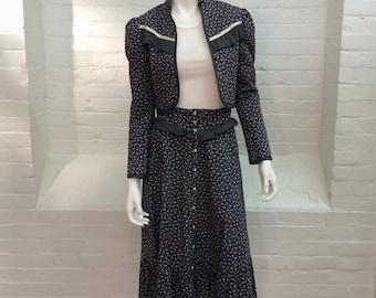 vintage Jessica's Gunnies San Francisco skirt suit // calico print prairie skirt and jacket // 1970s // xxs