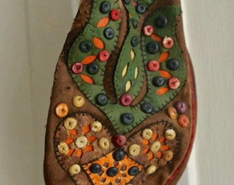 Vintage leather suede handmade pouch bag: tribal colourful decor