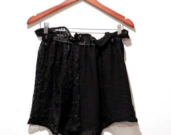 SALE Black Sheer Cheetah Print Silk Burnout Lounge Lingerie Shorts/ Hot Pants
