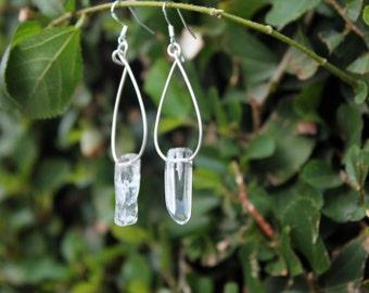 Clear Crystal Boho Jewelry, Sterling silver minimal Love hoop earrings