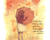 To Everything There Is A Season - Wall art - Girl with Umbrella -  Custom color and with or without text