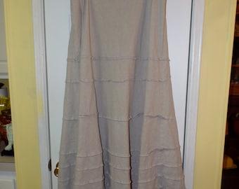 Women's Maxi Bohemian Skirt Taupe Size 16 Long Earthy Zen Vibe