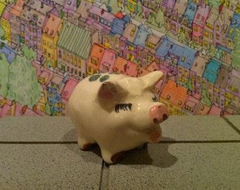 Vintage Pig, Figurine, Cake Topper, Novelty Pottery, Ceramic Piggy, Happy Little Piglet, Four Leaf Clover, Shamrock and Heart, FREE SHIPPING