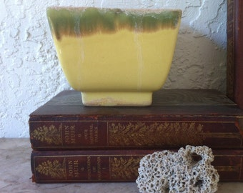 "Vintage Art Pottery, Marvelous ""Ming"" Motif, Yellow with Green, Glossy Glaze, Flared Sides, Square Planter Vase"