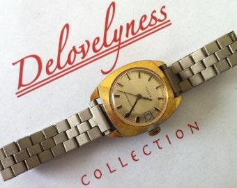 Vintage Women's Watch, Timex Watch, Tonneau Style Case, Gold Tone, 1960s