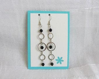 SALE! Black Bead & Silver Circle Dangle Earrings