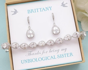 SALE Personalized Bridesmaid Gift, Crystal Earrings and Bracelet Set, Bridesmaid Jewelry Set, Bridal Cz Jewelry Set, Mother of Bride Gift