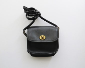 90s Black Crossbody Bag, Small Genuine Leather Satchel, Travel Purse, Card Passport Cash Coin Pouch