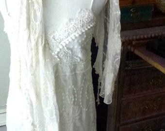 white lace dress with scarf- wedding clothing- romantic girls and women- elegant white dress