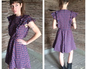 Vintage Plaid Country Western Dress/ Ruffled Bib Dress