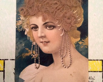 Vintage Victorian Postcard with REAL hair 3D textured post card Post Karte