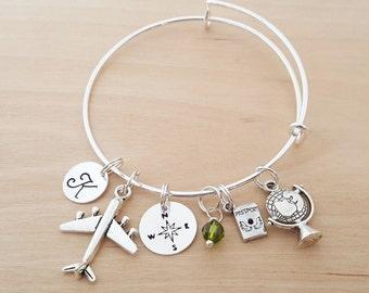 World Traveler Bracelet - Flight Attendant Gift - Personalized Bracelet - Adjustable Bangle - Birthstone Bracelet - Personalized Jewelry