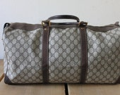 RESERVED FOR DONNIE: Vintage 1970s Stylish Gucci Travel Luggage Overnight Bag In Classic Browns